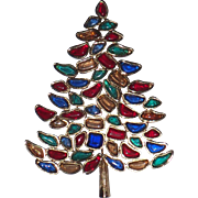 SOLD SCARCE Marvella 1966 Vintage Christmas Tree Pin, Book Piece