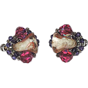 RARE Vendome Pink Art Glass Tulip, Crystal & Rhinestone Earrings