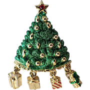 SALE Danecraft Signed Dangling Presents Christmas Tree Pin, Book Piece