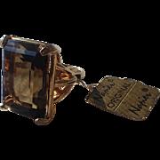 SALE Napier Topaz Glass Cocktail Ring, Original Tag, Adjustable 5-8