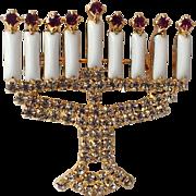 REDUCED Dominique Signed Hanukkah Menorah Rhinestone Brooch