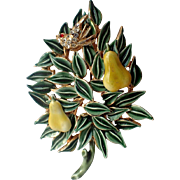 RARE Benedikt N.Y. 3D Patridge in a Pear Tree Christmas Pin, Book Piece