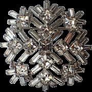 SCARCE B. David Snowflake Baguette Rhinestones Brooch