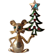 REDUCED RARE Tancer II Mouse Christmas Tree Pin, Book Piece