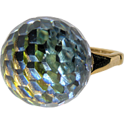 SOLD Vendome 1969 Crystal Prism 3D Ball Cocktail Ring, Magazine Ad Piece