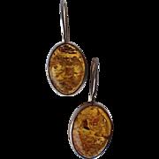 SALE Vintage Honey Amber Sterling Oval 3D Earrings, Pierced