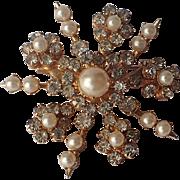 RARE Coro Signed 1950's Snowflake Rhinestone Faux Pearl 3D Brooch