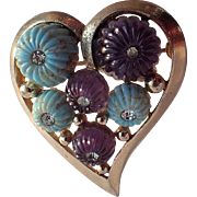 SALE Boucher 1955 3D Heart Brooch, Molded Glass and Rhinestones