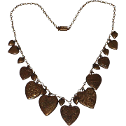 SALE Pididdly Links 1970's Art Nouveau Revival Heart Charms Necklace