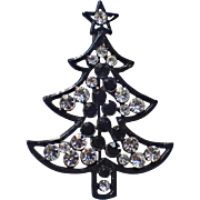 USA Japanned Jet & Clear Rhinestone Christmas Tree Pin