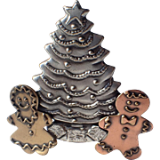 K & T Signed Gingerbread Man, Woman Christmas Tree Pin