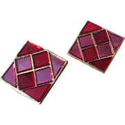 Trifari 1966 Hall of Mirrors Red Pink Tile Earrings