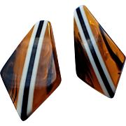 REDUCED Art Deco Bakelite Tortoise Striped Kite Earrings