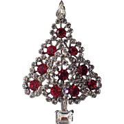 Lisner Circle Tiered Rhinestone Christmas Tree Pin, Book Piece