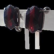 Art Deco Ruby Hexagon Glass Sterling Silver Earrings