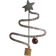 SALE Donna Burdic Signed Sterling Silver Garnet Christmas Tree Pin, Book Piece