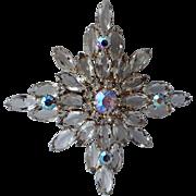 Snowflake Crystal Rhinestone AB Cut Glass Brooch