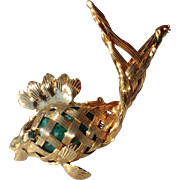 RARE Napier Fish, Jade Glass Brooch