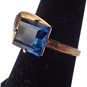 SALE Vargas Mid Century Modern 18K Gold Plate Blue Stone Ring, Size 6