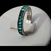 SALE PENDING Trifari Sterling Emerald Baguette Eternity Ring, Size 6