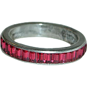 SALE Trifari Sterling Red Baguette Eternity Ring, Size 7