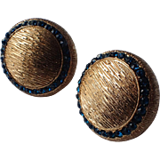 Vendome Blue Round Button Earrings, 1960's