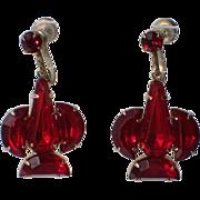 Art Deco 1930's Ruby Red Glass Earrings