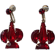 Art Deco 1930's Ruby Red Glass Earrings