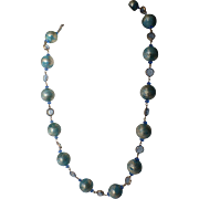 1960's Blue-Gold Glitter Bead and Crystal Sautoir Necklace
