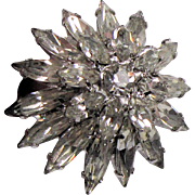 Napier 1960's Tiered Navette Rhinestone 3D Cocktail Ring, Original Tag