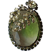 Vendome 1959 Peridot Glass Leaves Pin/Pendant, Magazine Ad Piece