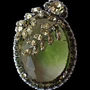 Vendome 1959 Peridot Glass Leaves Pin/Pendant, Magazine Ad Piece