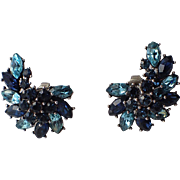 Trifari 1961 Smart Women Sapphire Blue Rhinestone Earrings