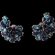 Trifari 1961 Smart Women Sapphire Blue Rhinestone Earrings