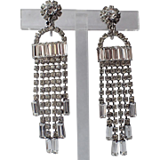 RARE Kramer of New York Baguette Rhinestone Chandelier Fringe Earrings