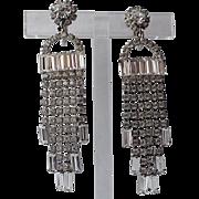 RARE Kramer of New York Baguette Rhinestone Chandelier Fringe Earrings