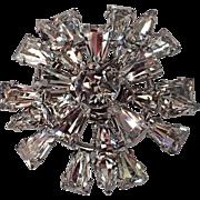 SALE Keystone Clear Rhinestone Snowflake 3D Brooch