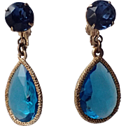 SALE Accessocraft N.Y.C. 1960's Aqua-Sapphire blue Glass Teardrop Earrings