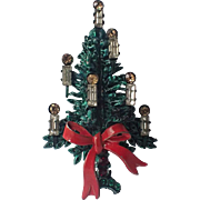 SALE Austria Candles & Bow Christmas Tree Pin, Book Piece