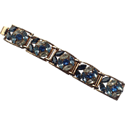 Napier 1950's Sapphire Blue Rhinestone Panel Bracelet, Book Piece