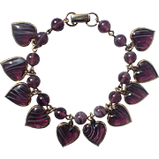 REDUCED Warner Purple Givre Glass Puffy Heart Charm Bracelet
