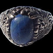 SALE 1930's Sterling Lapis Art Nouveau Revival Ring, Size 8.5 US