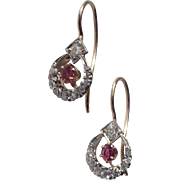 SALE Art Deco Diamond, Ruby 14K Gold Earrings
