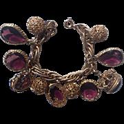 REDUCED Accessocraft N.Y.C. 1960's Amethyst Purple Glass Charm Bracelet