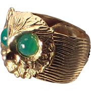 Napier 1970's Owl Ring, Adjustable 5-8