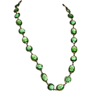 SALE Accessocraft N.Y.C. Spring Green Glass Sautoir Necklace 1960's