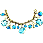 SALE SCARCE Accessocraft N.Y.C. 1960's Aquamarine Glass Charm Bracelet