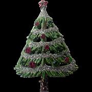 Mid-Century Enameled Christmas Tree Pin, Book Piece