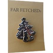 SALE PENDING Far Fetched Signed Cat Dreams Christmas Tree Pin