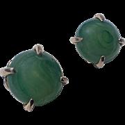Napier Swirled Jade Glass Earrings, 1960's